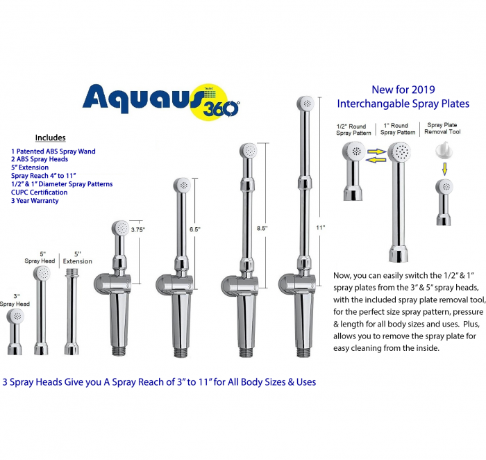 The aquaus 360 diaper sprayer and handheld bidet fits most standard American-style toilets with flexible supply lines