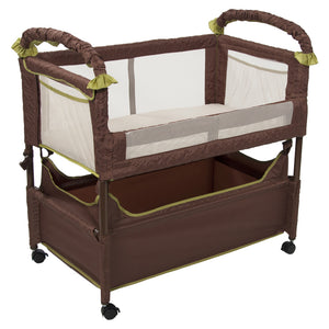 Clear-Vue™ Co-Sleeper® and bassinet in cocoa fern color