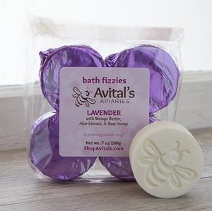 avital's apiaries honey oatmeal bath fizzles with aloe extract and raw honey