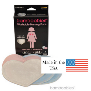 Bamboobies Nursing Pads Sample Pack, contains 1 pair of overnight, 1 pair of regular pads, made in the USA