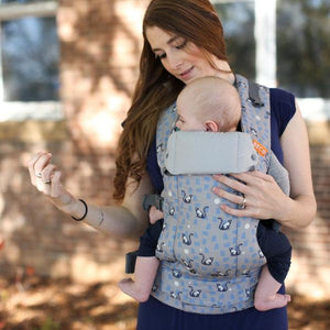 Beco Gemini Cool Navy print carrier features gray waffle weave on navy fabric for 7 - 35 pounds
