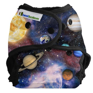 Best Bottom One Size Diaper Cover, Far Far Away print, planets on midnight background with black trim, fits newborn to 35 pounds and made in USA logo