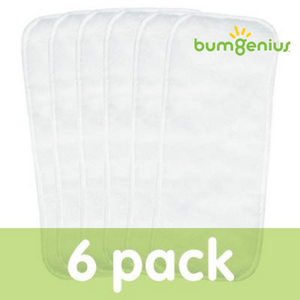 bumGenius diaper doubler newborn size, package of 6, measures 12 X 5.5 inches