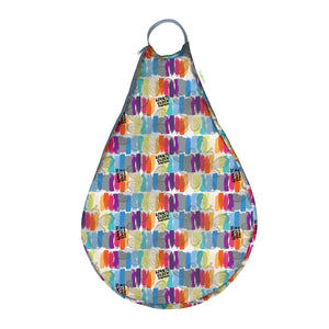 bumGenius Hangout Wet Bag, hanging diaper pail, washable, shown in Love print