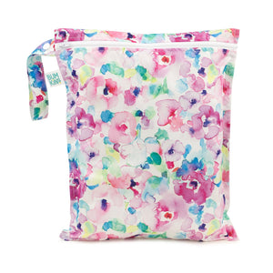 "Bumpkins Wet Dry Bag Hearts print has black hearts on white background, measures 12""W x 14""L"