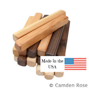 Solid wood building stick toys, made from 3 different woods, by Camden Rose, made in the USA