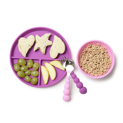 chewbeads cb eats flatware, 2 spoons and 2 forks in pink, purples, and green