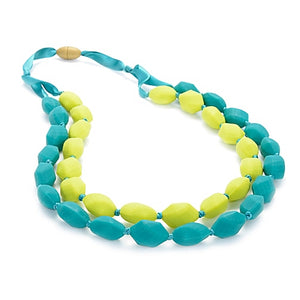 "turquoise and chartreuse chewbeads astor necklace with safety clasp.  one strand measure 30"" and the other 28"""