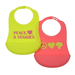 Chewbeads Silicone Feeding Bibs with pocket, peace love and veggies style in pink and chartreuse lime green