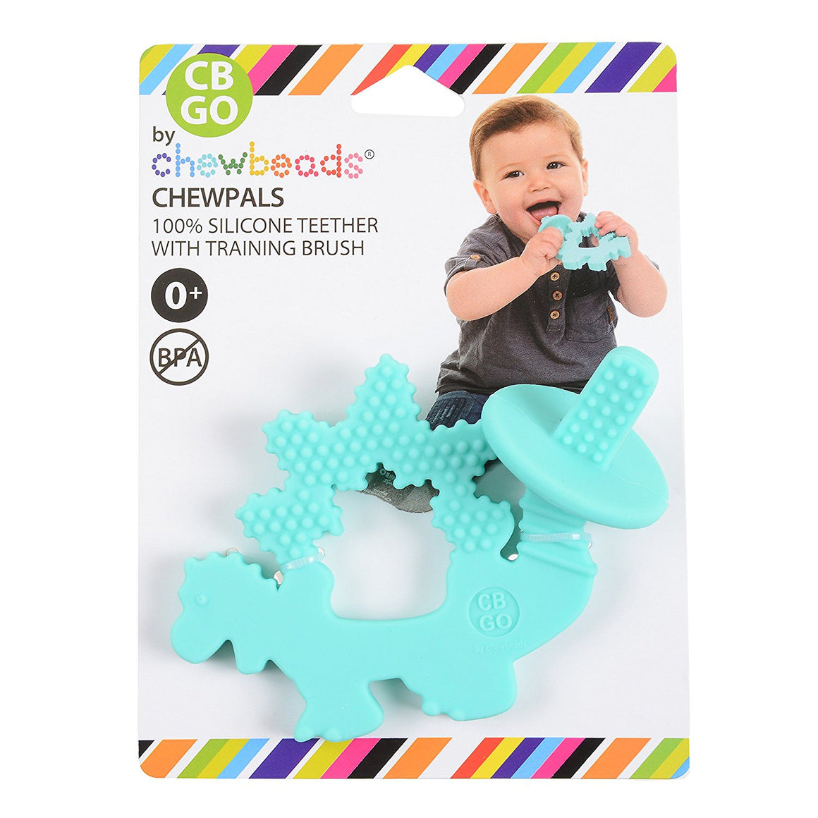 Chewbeads Chewpal Dinosaur Silicone teether is light blue