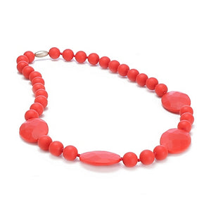 cherryred colored 100% silicone perry chewbead necklace measures 30 inches