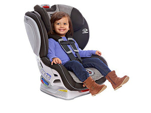 child smiling in her britax advocate click tight convertible car seat, vent print