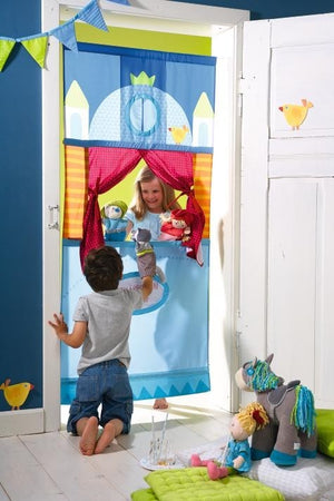 "HABA Doorway Puppet Theater measures 67"" tall and 31"" wide, but the poles extend a bit further (up to 45"")"