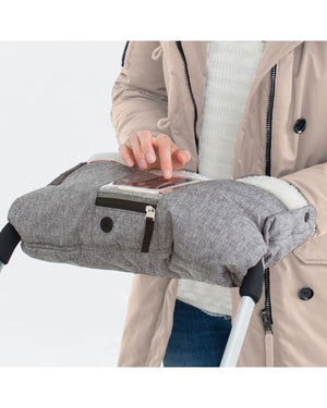 Skip Hop stroll and go on-call stroller muff features a pocket for a smart phone