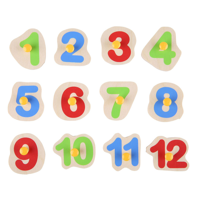 Hape Happy Hour clock has 12 puzzle piece numbers and moveable hands