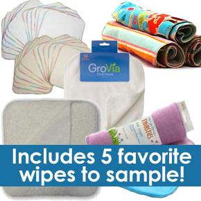 Cloth wipes sampler includes a Grovia, OsoCozy terry, Imagine bamboo, Thirsties organic, and Jillian's Drawers homemade wipe to sample