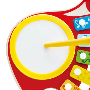 Hape 6-in-1 Music Maker guitar is bright and colorful