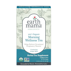 Earth Mama Organics Morning Wellness Tea, herbal tea for morning and all-day nausea, 100% organic