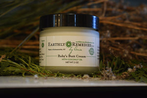 Earthly Remedies baby's butt cream is made in the USA of all natural ingredients
