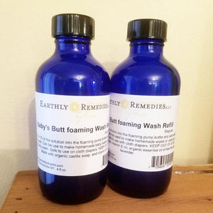 Earthly Remedies foaming baby's butt wash refills are made in the USA and come in two scents