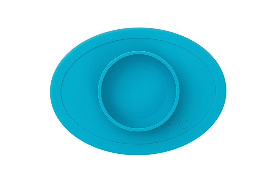 ezpz tiny bowl fits ALL trays including Stokke and sticks to surfaces, in blue solid color