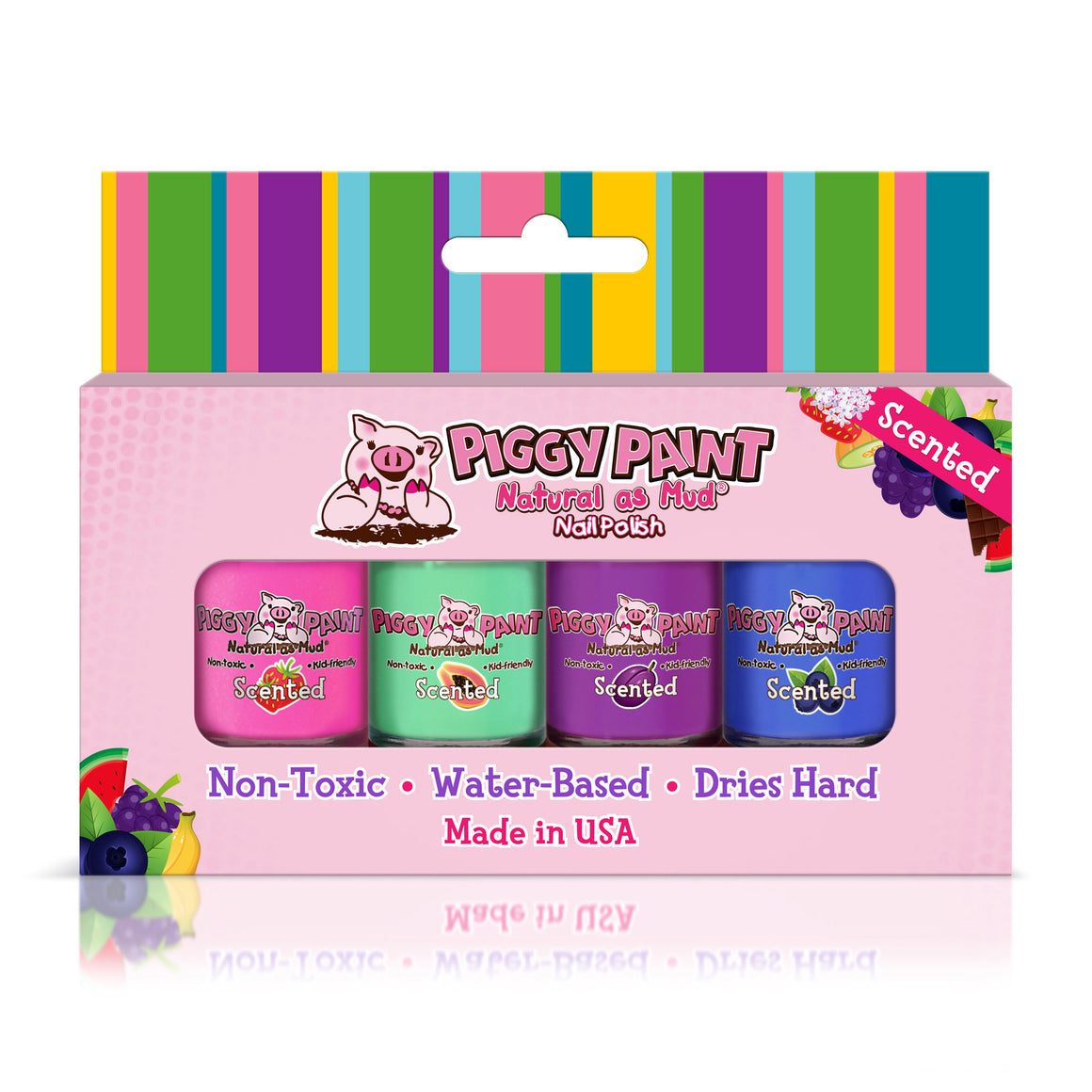 cutie fruity set includes 4- .25 ounces of piggy paint polish in berry go round, shimmy shimmy pop, tutu cool, and dragon tears with nail art set