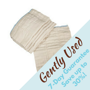 save money with gently used unbleached prefolds, used less than 30 days