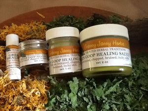 Green Goop Healing Salve, amazing for cracked nipples, dry skin, skin abrasions, and more. Hand-crafted in Michigan