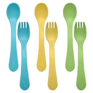 aqua, yellow, and green fork and spoon sprout ware sets from green sprouts