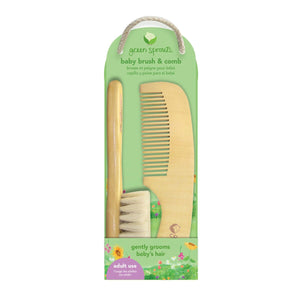 Green sprouts all natural comb and brush set from wood and goat hair bristles, 6.2 inches long