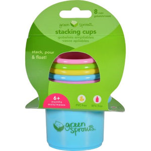 Set of six colorful green sprouts stacking cups for play, bath, and sand