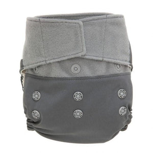 GroVia Hybrid Diaper Shell with snaps, shown in Slate Stars print, white background with grey stars, hybrid cloth diaper