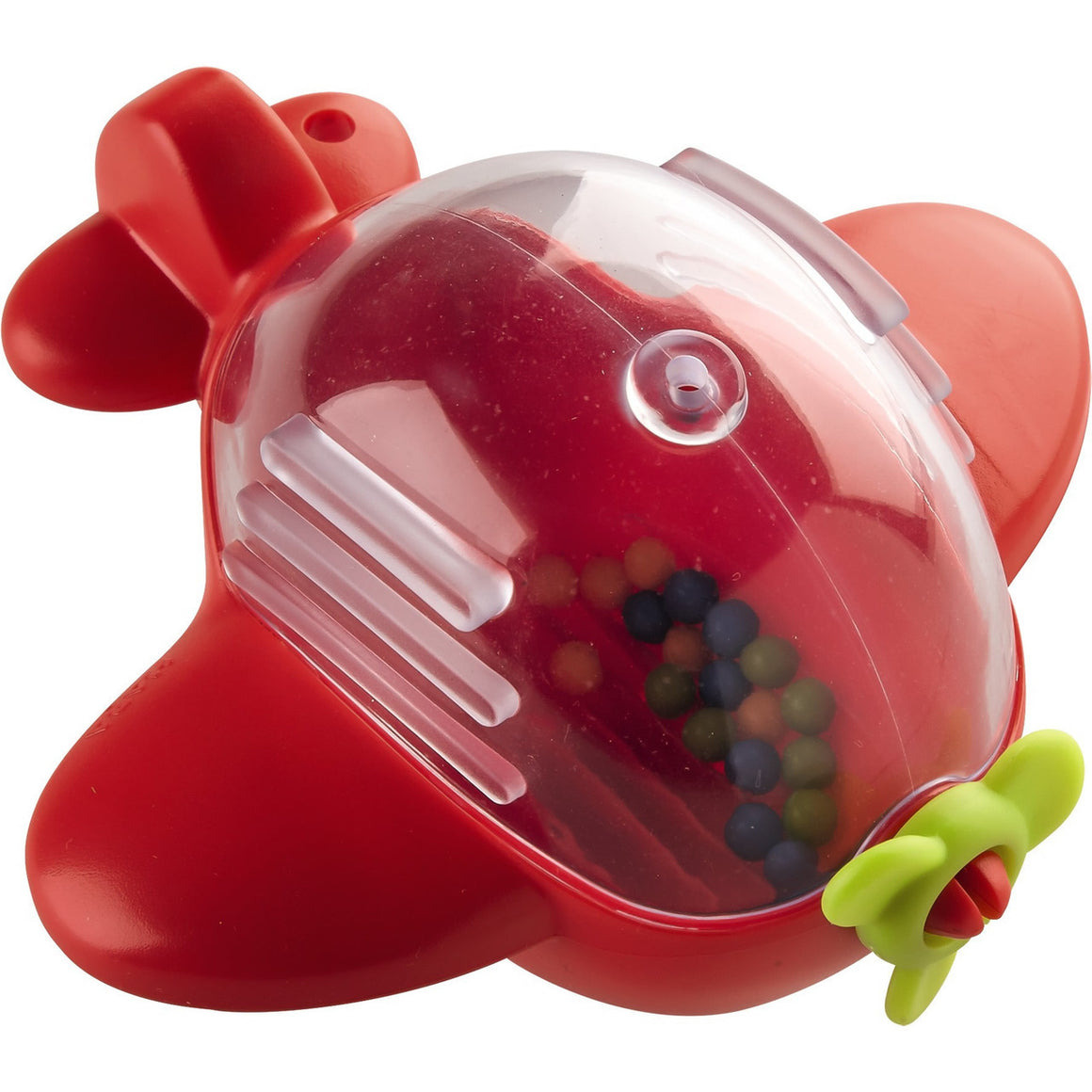 Haba Bathtub Airplane is red with a green propeller and a see thru plastic top with beads