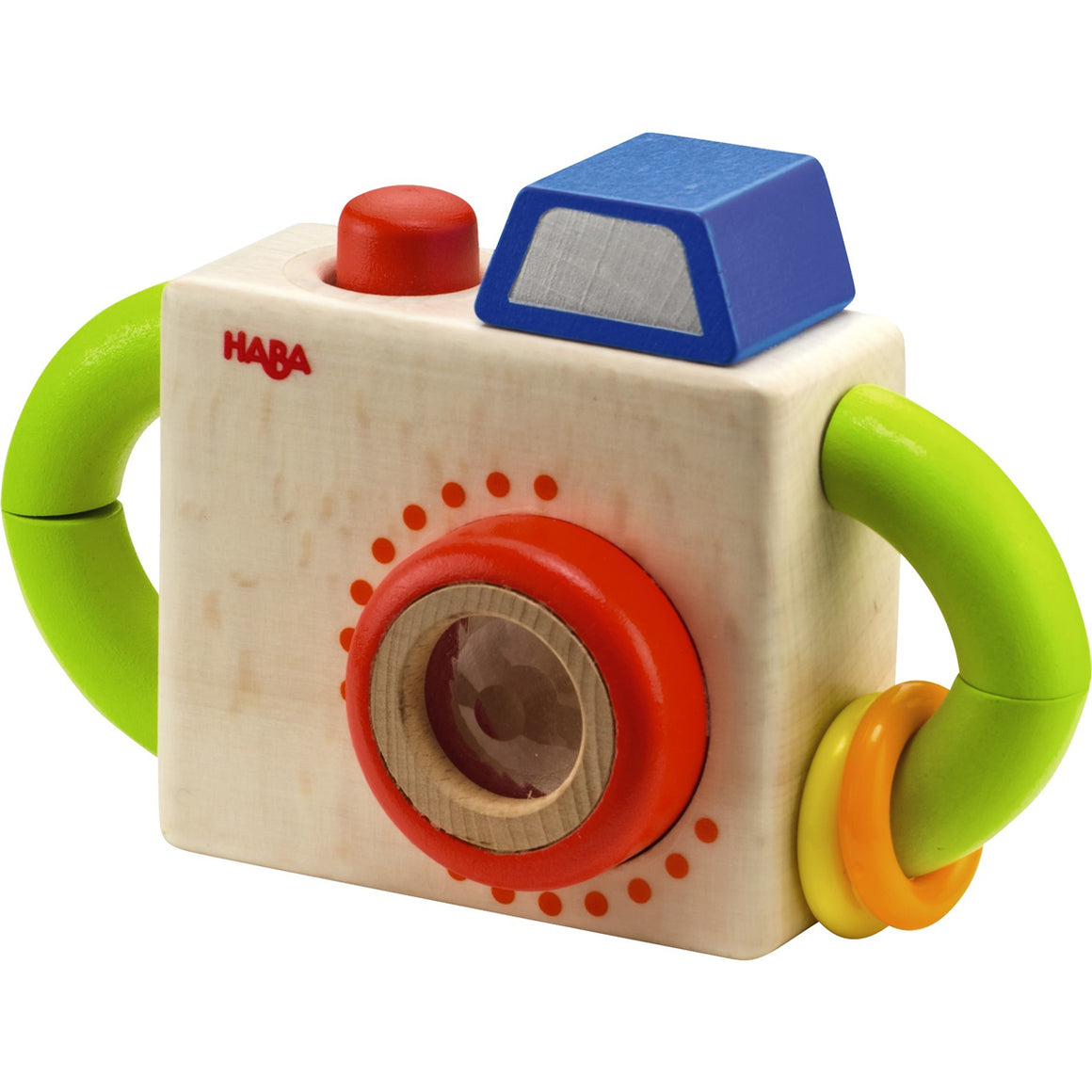 HABA Capture Fun Camera is colorful with bright green handles and a red button that squeaks when pressed down