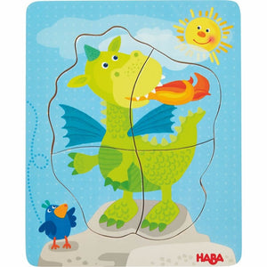 "HABA Darling Dragons wooden puzzle measures 7.5"" x 6"""