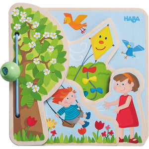 HABA Four Seasons Wooden Baby Book measures 5 x 5""