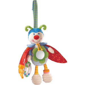 "HABA colorful beetle bodo hanging toy measures 10.5"" with delightful features to entertain baby"