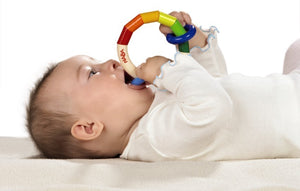 Classic wooden Haba ring Kringelring rainbow wooden teething ring for babies