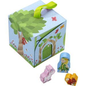 Haba Land of Fairies Planet Play Cube closed with 3 wood figures; fairy, unicorn, and a squirrel
