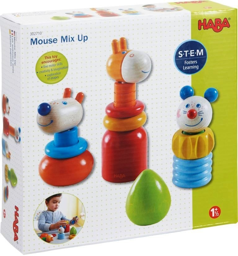 vibrant colors of the 14 wooden piece HABA Mouse Mix Up set