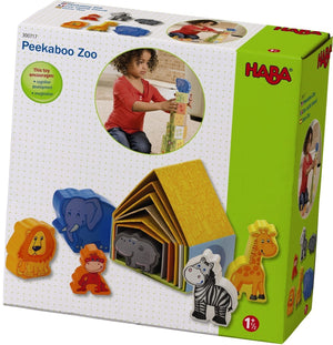 images of the 12 piece peekaboo zoo set with animals in their homes