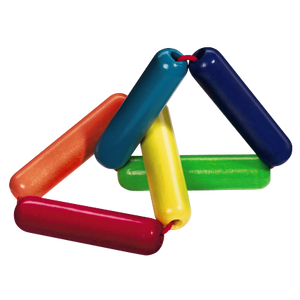 Rainbow colored wooden Triangle clutching toy from HABA toys