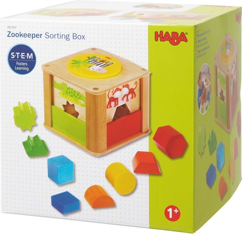 8 rainbow colored shapes and the HABA Zookeeper Sorting Box
