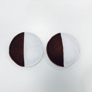 "felt half moon cookies made in Ithaca NY, for play, measure 3.5"" diameter"