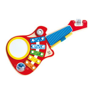 Packaging for the Hape 6-in-1 Music Maker guitar