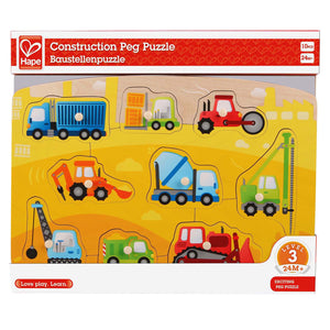 9 piece Hape Construction Peg Wooden puzzle measures 11.57x9.76x0.71 inches