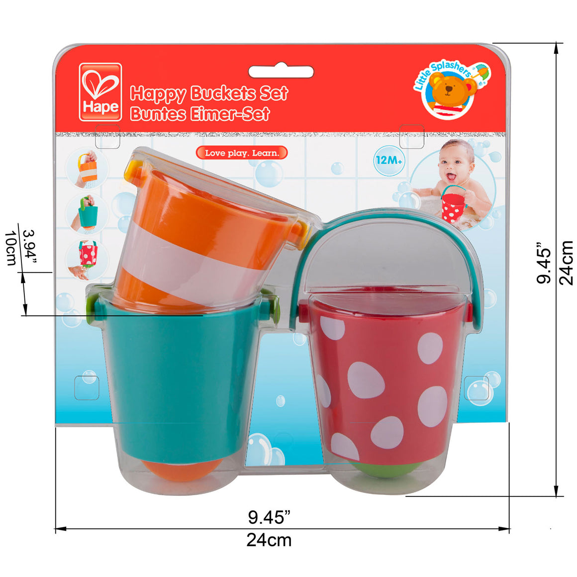 Hape set of three colorful Happy Buckets Bath Toy set