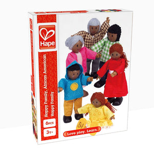 Hape Happy Family 6 Piece Dolls, African American family individuals