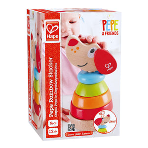 "Packaging for the Hape Pepe Sound Stacker wood toy that measures L4.53""x W4.53""x H7.09"""