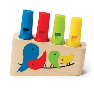 Hape Rainbow Pan Flute has colorful birds and tubes in blue, red, green, and yellow for ages 3 years and older